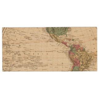 Map of Western Hemisphere Wood USB Flash Drive