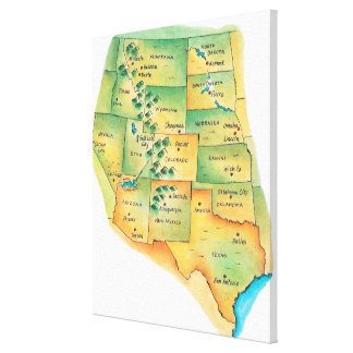 Map of Western United States Canvas Print