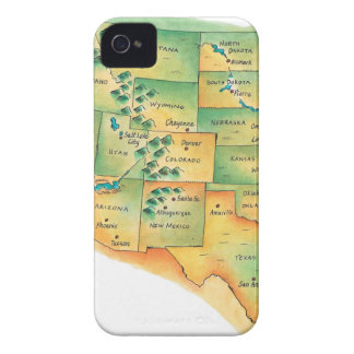 Map of Western United States iPhone 4 Case-Mate Cases