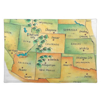 Map of Western United States Placemat
