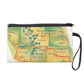 Map of Western United States Wristlet