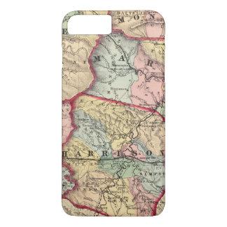 Map of Wetzel, Monongalia, Marion, Doddridge iPhone 8 Plus/7 Plus Case