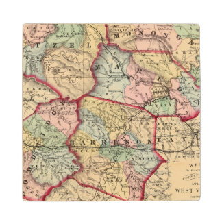 Map of Wetzel, Monongalia, Marion, Doddridge Wood Coaster