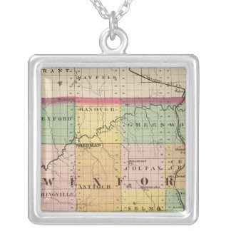 Map of Wexford County, Michigan Silver Plated Necklace