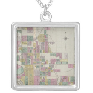 Map of Wichita, Kansas Silver Plated Necklace