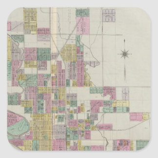 Map of Wichita, Kansas Square Sticker