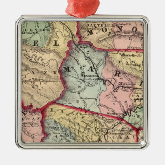 Map of Winfield, West Virginia Silver-Colored Square Decoration