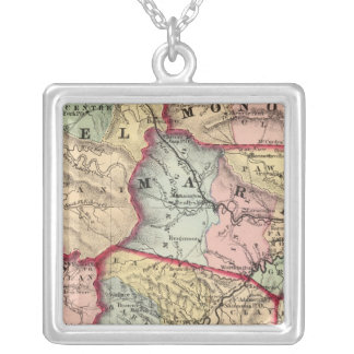 Map of Winfield, West Virginia Silver Plated Necklace