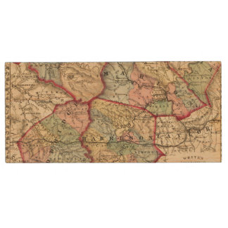 Map of Winfield, West Virginia Wood USB Flash Drive
