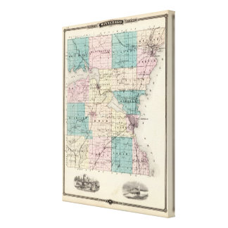Map of Winnebago County, State of Wisconsin Canvas Print