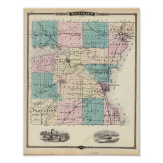 Map of Winnebago County, State of Wisconsin Poster