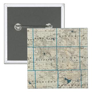Map of Winneshiek County, State of Iowa 15 Cm Square Badge