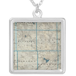 Map of Winneshiek County, State of Iowa Silver Plated Necklace