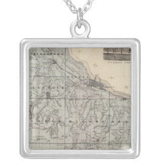 Map of Winona County, Minnesota Silver Plated Necklace
