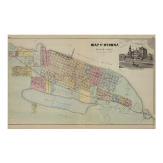 Map of Winona, Minnesota Poster