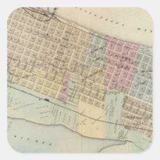 Map of Winona, Minnesota Square Sticker