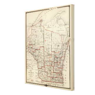 Map of Wisconsin Canvas Print