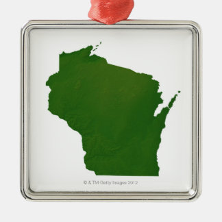 Map of Wisconsin Christmas Ornament