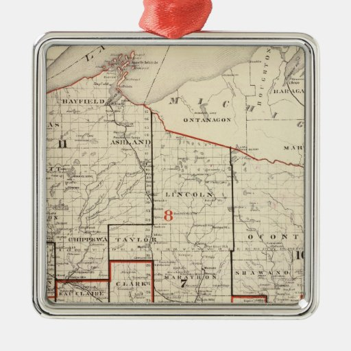 Map of Wisconsin Christmas Tree Ornaments