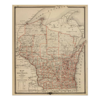 Map of Wisconsin, showing assembly districts Poster