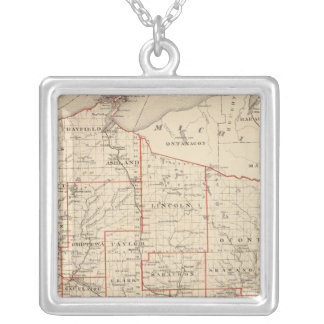 Map of Wisconsin, showing assembly districts Silver Plated Necklace