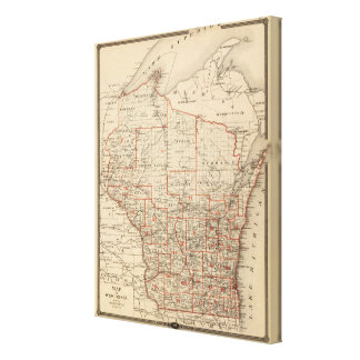 Map of Wisconsin showing senatorial districts Canvas Print