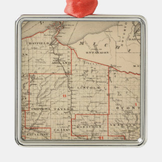 Map of Wisconsin showing senatorial districts Christmas Ornament