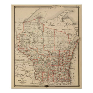 Map of Wisconsin showing senatorial districts Poster