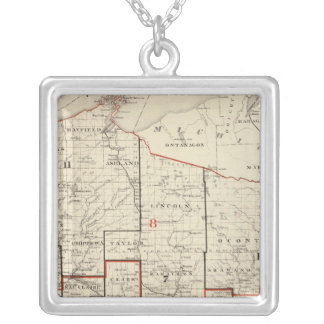 Map of Wisconsin Silver Plated Necklace