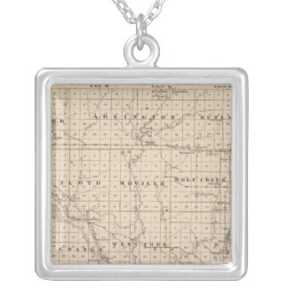 Map of Woodbury County, State of Iowa Silver Plated Necklace