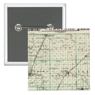 Map of Woodford County, El Paso and Metamora 15 Cm Square Badge
