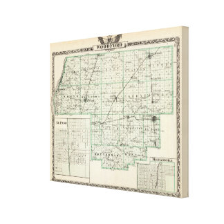 Map of Woodford County, El Paso and Metamora Canvas Print