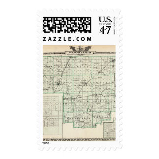 Map of Woodford County, El Paso and Metamora Postage Stamp