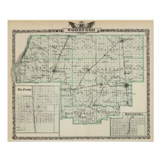 Map of Woodford County, El Paso and Metamora Poster
