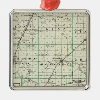 Map of Woodford County, El Paso and Metamora Silver-Colored Square Decoration
