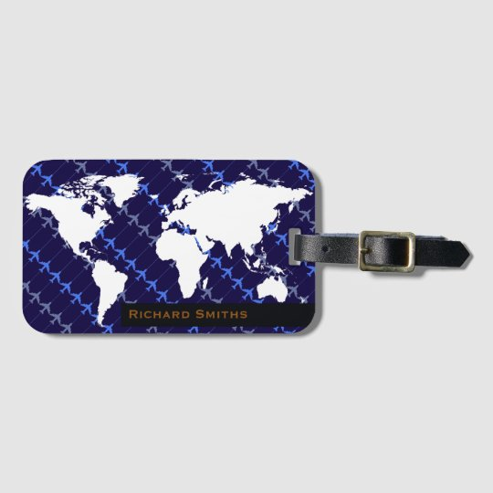 map of world aeroplane travel blue personalised luggage