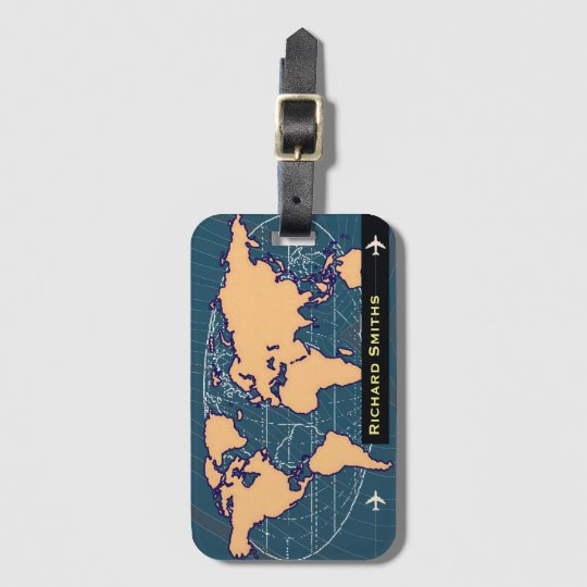 map-of-world air travel customised name luggage tag