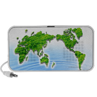 Map of world floating on water travel speakers