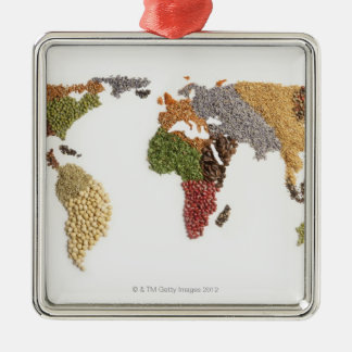 Map of world made of various seeds Silver-Colored square decoration