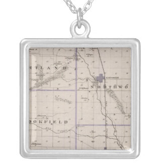 Map of Worth County, State of Iowa Silver Plated Necklace