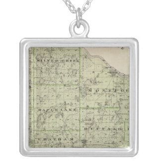 Map of Wright County, Minnesota Silver Plated Necklace