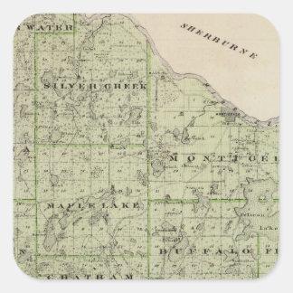 Map of Wright County, Minnesota Square Sticker
