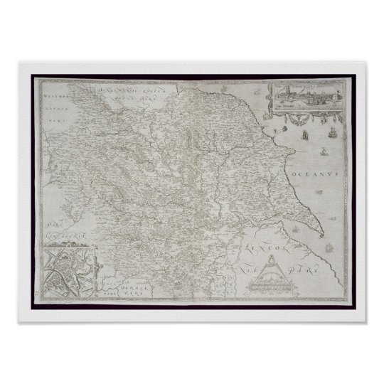 Map of Yorkshire, engraved by William Web, publish