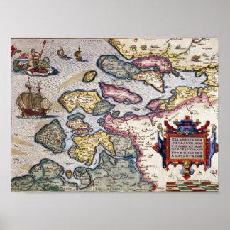 Map of Zeeland, c.1560 Poster