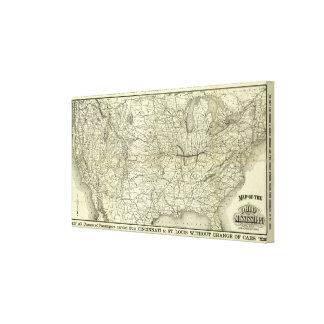 Map Ohio and Mississippi Railway Canvas Print