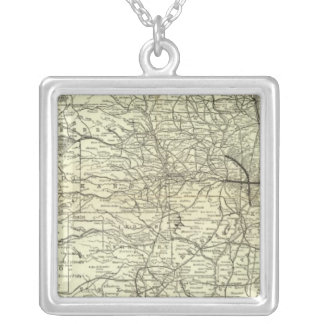 Map Ohio and Mississippi Railway Silver Plated Necklace