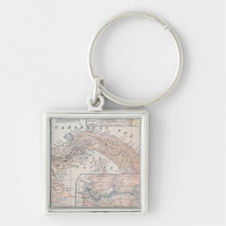 MAP: PANAMA, 1907 Silver-Colored SQUARE KEY RING