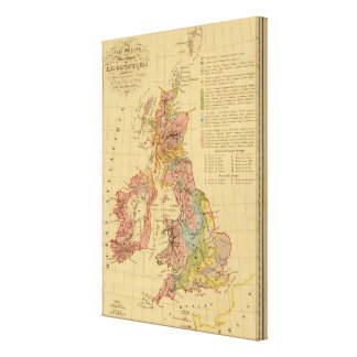 Map physical and mineralogical canvas print