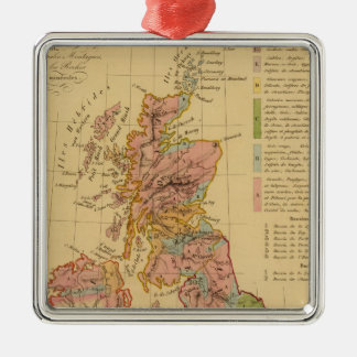 Map physical and mineralogical Silver-Colored square decoration