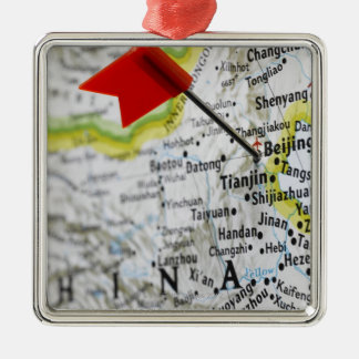 Map pin placed in Beijing, China on map, Silver-Colored Square Decoration
